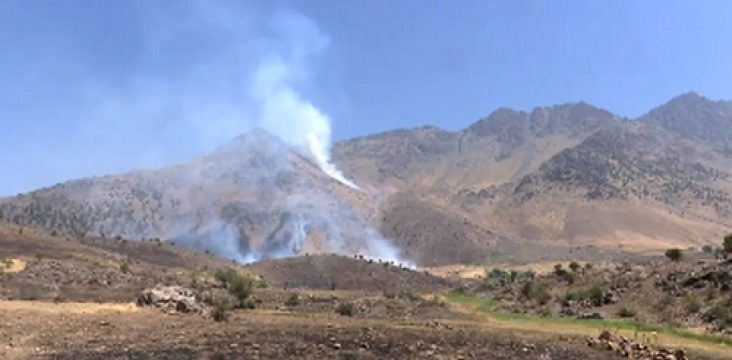 Throwing mortars shelling to village in Sardasht by the Iranian Revolutionary Guard Corps