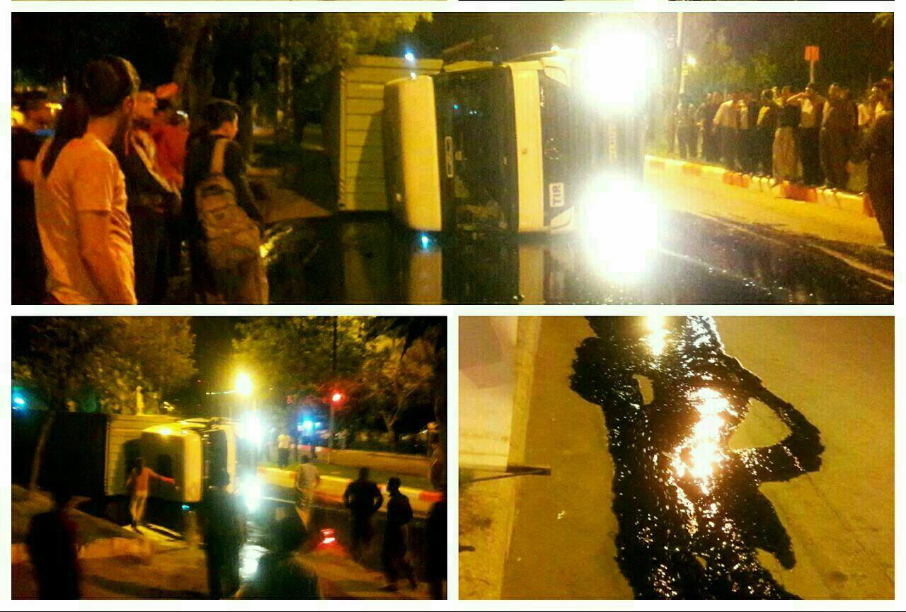 "Suicide Haulage truck for driver in the square ""Bavarashi"" Marivan and woman Sardashti"