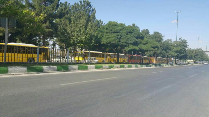 Bus drivers gathered in front of the Governor Kermanshah.
